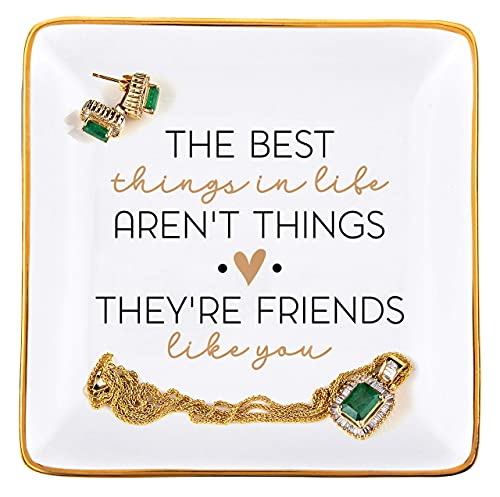 RELISSA Friend Birthday Gifts for Women; Gift for Best Friend, Bridesmaid Gifts, BFF Trinket Dish Ring Dish, Long Distance Friendship, Encouragement Gift, Jewelry Organizer (Best Things)