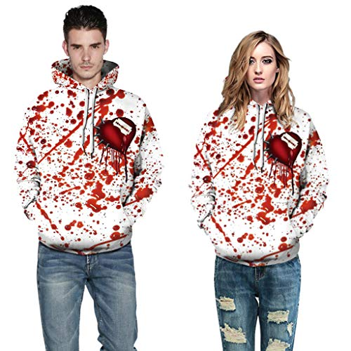 HHyyq 3D Print Hoodie Sweatshirt Hippie Halloween Pullover Outwear Lose Rundungskragen Mantel Bluse Oberseite T-Shirt Blutdruck Herren Herbst Winter Mode Tops Bluse Sweater Frauen Jacket