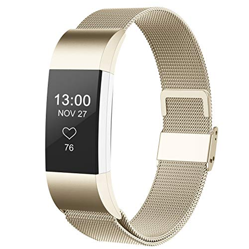 CCnutri Compatible with Fitbit Charge 2 Bands, Stainless Steel Loop Metal Mesh Bracelet for Fitbit Charge 2 Replacement Wristbands for Women Men, Small Champagnegold