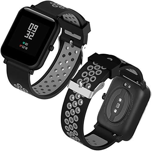 Th-some Correa para Amazfit Bip Impermeable Universal - Reemplazo de Pulsera Ajustable para Xiaomi Huami Amazfit Bip bit Lite Youth Watch Sin Tracker (Negro Gris3)