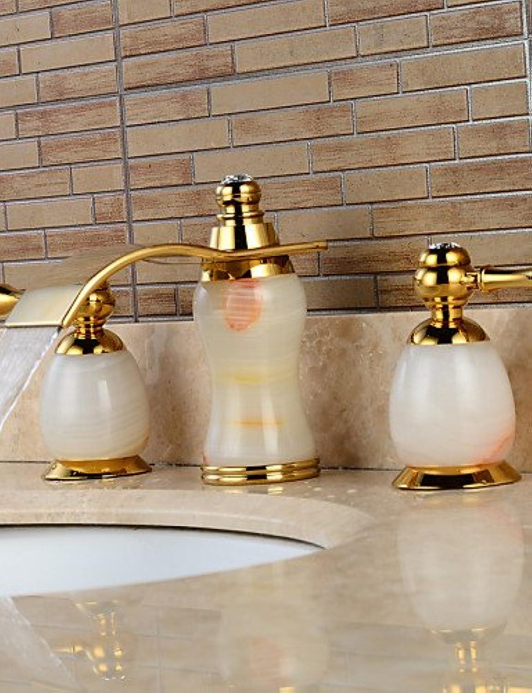3-Loch-Armatur Zwei Griffe Drei Lcher in Ti-PVD Waschbecken Wasserhahn , 58 x 8 cm-Golden+Weiß , 58 x 8 cm-Golden+Weiß