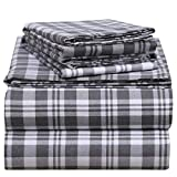 EnvioHome 160 GSM Durable Cotton Winter Flannel Sheet Set - 4 Pc - Full, Grey Plaid