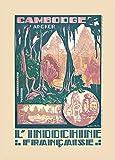 Poster, Vintage-Stil, Motiv Kambodscha für Angkor Wat und