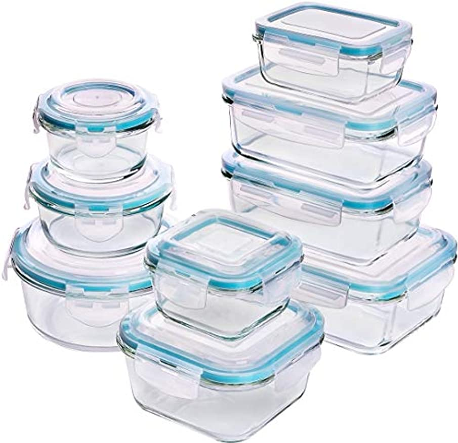Utopia Kitchen [18-Pieces Glass Food Storage Containers with Lids - Glass Meal Prep Containers with Transparent Lids BPA Free and FDA Approved (9 Containers and 9 Lids)