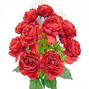 Bright Sun Perfect for Valentine Ranunculus Bush 12 Artificial Silk Flowers 18″ Bouquet #TVTY