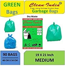 Clean India™ - 3 Packs Medium Garbage Bags for Dry and Wet waste (90 pcs) (Green)