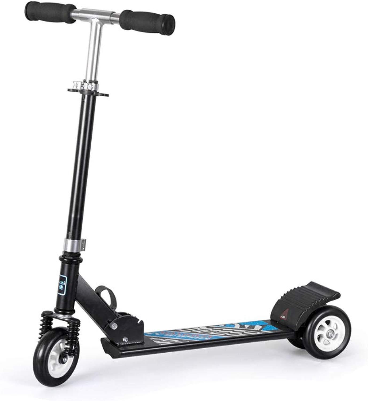 ZXL Scooter Nero con Freno a Pedale Doppio Ruota Posteriore, Pieghevole Scooter Regolabile per Ragazzi Ragazzi di 5-14 Anni