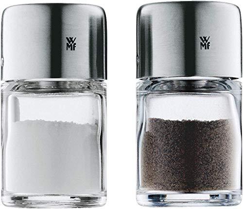 WMF Bel Gusto zout-/peperstrooier set 2-delig, 5,0 cm strooier klein, mini-zoutvaatje, Cromargan roestvrij staal gematteerd