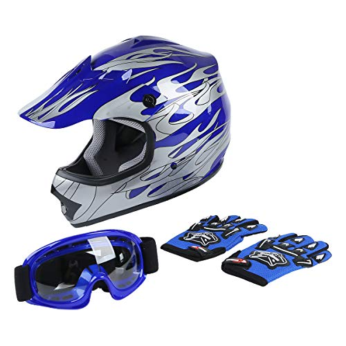 XFMT DOT Youth Kids Motocross Offroad Street Dirt Bike Helmet Youth Motorcycle ATV Helmet with Goggles Gloves Blue Flame XL