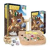 YUDIZWS 15 Gemas Reales Kit De Minerales Excavación, Juguetes Educativos De Ciencia, Regalo De Ciencia De Tallo para Entusiastas De La Mineralogía Y La Geología,Natural