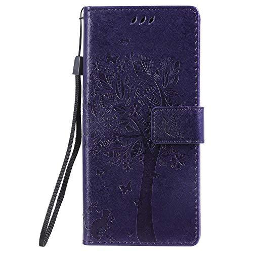 LODROC Galaxy Note 10 Hülle, TPU Lederhülle Magnetische Schutzhülle [Kartenfach] [Standfunktion], Stoßfeste Tasche Kompatibel für Samsung Galaxy Note10 - LOKT0100437 Violett