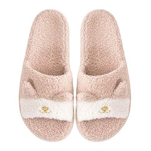 UXZDX Zapatillas De Interior para Mujer, Zapatillas De Piel De Zorro De Dibujos Animados, Zapatillas De Piel para Mujer, Dormitorio, Cálidos Zapatos para Parejas (Color : Beige, Size : 39-40)