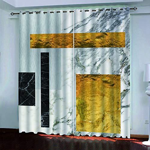 LLPZ Cortinas Opacas E Insonorizadas, Cortinas Blancas con Patrones Abstractos, Cortinas Modernas para Dormitorios Y Salas De Estar 2×W140cm×L175cm