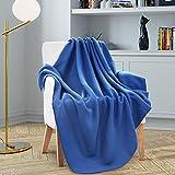 ZECHREY Solid Color Throw Blanket Lightweight Soft Polar Fleece Travel Blanket for All Seasons 50''x60'' (Navy)