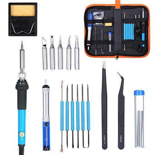 Kit de ferro de solda elétrico 60 W ferramenta de soldagem de temperatura ajustável com 5 peças de pontas de ferro de solda Bolsa portátil de PU para transporte plugue americano
