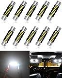 ALOPEE 10-Pack 100 Lumens Xenon White 30MM (1.18') - 31MM (1.25') 12V LED Festoon Luce 4014 9-SMD Lampadine a Specchio Vanity LED Per Veicolo 6615F 6614F 3021 3022 3175 T-2 SF6 / 6
