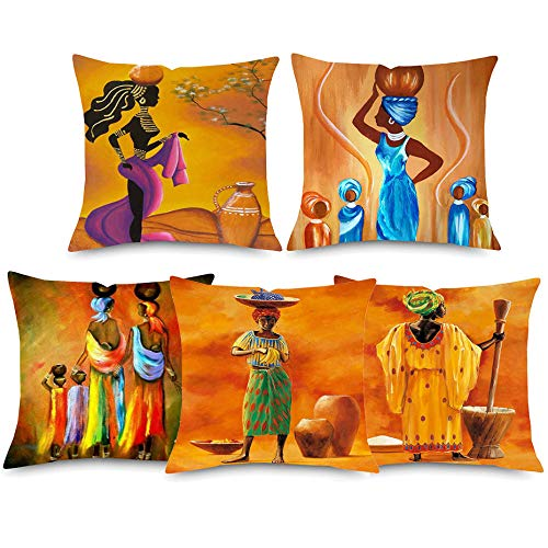 JWEK Cuscino Set 5 Pezzi Divano Abbraccio Federa Donna Africana Cuscino per Pittura a Olio Set Dancing Donna Arancione Federa Federa Decorazione Camera da Letto 45X45Cm