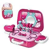 BAKAJI Valigetta Beauty Specchiera Giocattolo per Bambini con 17 Accessori Trucchi e Gioielli Bellezza con Tracolla per Il Trasporto