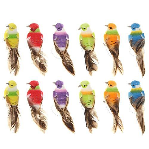 Broadroot 12Stk. Bunte Mini Simulation Vögel Gefälschte Schaum Künstliche Vogel Modell Miniatur Hochzeit Deko Garten Ornament Dekoration