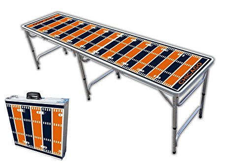 8-Foot Professional Beer Pong Table - Chicago Football Field Graphic