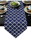 Abows-Shop Camino de Mesa Azul Marino Clásico Marruecos Camino de Mesa Morden Elegante Banquete de Boda Decoración de la Mesa de Vacaciones Decoración 13 x 90 Pulgadas