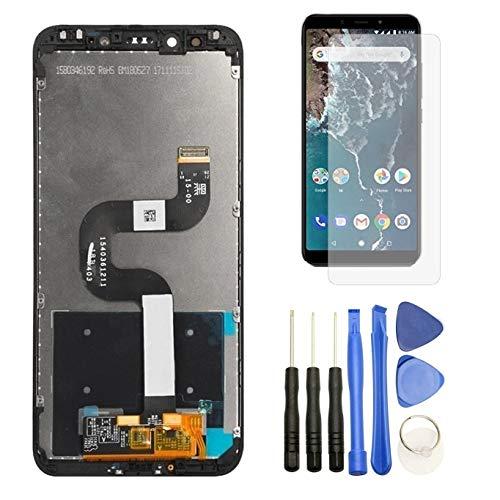 Hypak Pantalla IPS LCD para Xiaomi Mi A2 (Completa con Marco de Color Negro) Incluye Protector de Pantalla y Herramientas