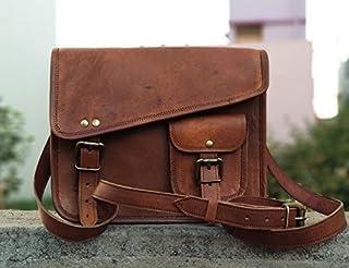 DHK- Stylish Men's Genuine Leather Brown Shoulder Messenger Passport Bag Murse medium