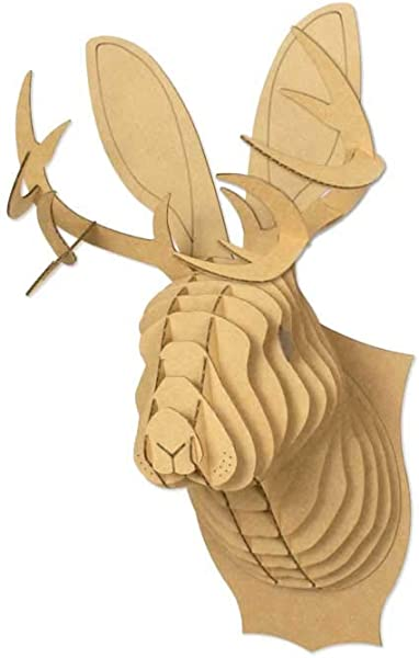 Cardboard Safari Jack The Jackalope Animal Head Small Brown