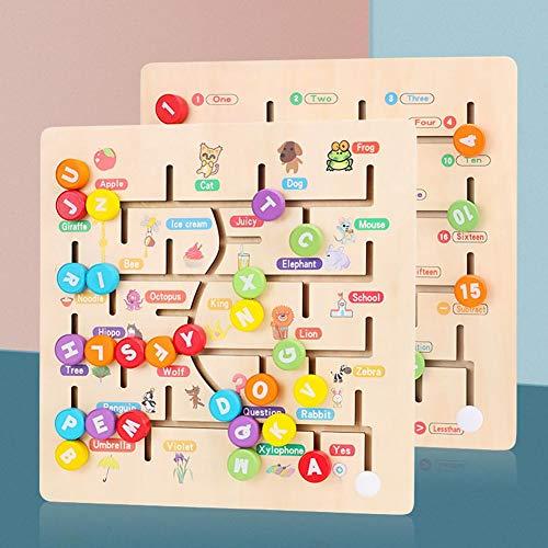 Seasons Shop Wooden Alphabet Maze Brettspiel Puzzle Lernspielzeug Kleinkinder für frühe Entwicklungsaktivitäten fördern Feinmotorik und Farberkennung robust Noble