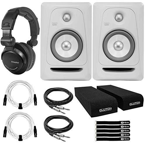 "KRK Rokit RP5G3 5"" Powered Limited Edition White Studio Monitor Speakers Pack"
