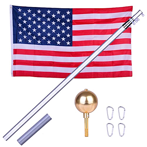 charaHOME 20FT Telescopic Flag Pole with 3x5 America Flag,Aluminum Flagpole Kit Fly 2 Flags Heavy Duty 16 Gauge Flag Poles Golden Ball Top for Commercial,Outdoor Garden