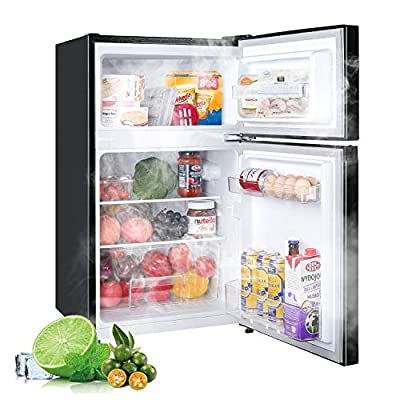 ?Limited Deal?3.0 Cu. Ft 2 Door Mini Fridge with Freezer TECCPO, Compact Refrigerator, Energy Star, 35dB, LED Light, Reversible Door, 7 Adjustable Thermostat Control, for Dorm, Bedroom, Office, Kitchen, Apartment, RV, Black- TAMF17