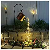 Star Shower Garden Art Light Decoration, 38' Led Strands, Silver Wire Vine Solar Lights, Led Light with Timer, Watering Can Decor, Led Fairy Lights, String Lights for Outdoors (With Bracket)