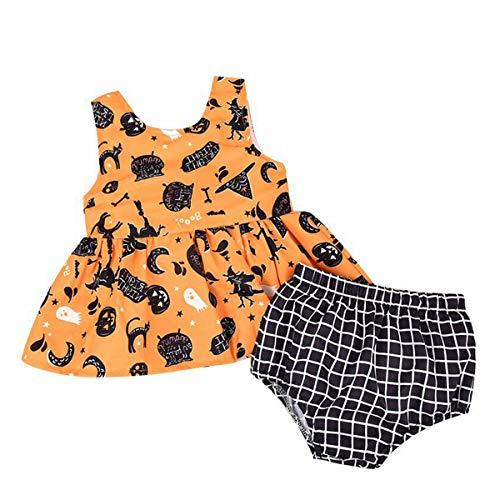 T TALENTBABY Traje de Halloween para recién nacido, disfraz de fantasma, traje para bebé, niña, calabaza, tutú, falda y pantalones cortos a cuadros (2 piezas) amarillo 12-18 Meses