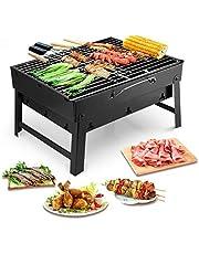 Uten draagbare barbecue roestvrij staal houtskool roker char broil BBQ pit grill voor Ourdoor camping (klein), zwart