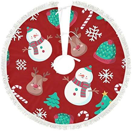 Muerlinanajj Kerstboom Nieuwjaar kerstboom Rok Wasbare Decoratie voor Halloween Xmas Nieuwjaar Vakantie Party wit 122x122cm