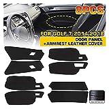Hermoso 8PCS LHD 4 PUERTAS Panel de reposabrazos PU Cubrir el ajuste del ajuste interior para el golf 7 2014-2018 con herramientas negras con línea roja (Color : Photo color)