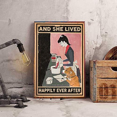 HUIOP Perros de hornear Original Vintage Diseño Bar Reglas de estaño Metal pared arte señalización grueso hojalata impresión cartel decoración de pared para barra 8x12 pulgadas