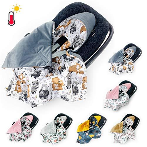 BABEES Einschlagdecke für Babyschale Autositz FRÜHLING SOMMER, Universal z.B. Maxi-Cosi Römer Cybex, Velvet Baby Decke mit Klettverschluss Babytragen leicht Übergangssaison bäre