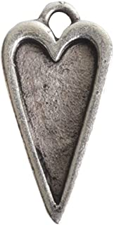 Nunn Design Bezel Charm, Itsy Heart 10x20mm, 1 Piece, Antiqued Silver