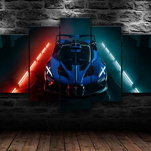 5 piezas Azul 2021 Bugatti Bolide Supercar Rojo Luces de neón Fondo Pintura de la Pared La impresión de la Imagen en la Lona Art Fotos de la Obra para la Decoración Moderna del Ministerio del