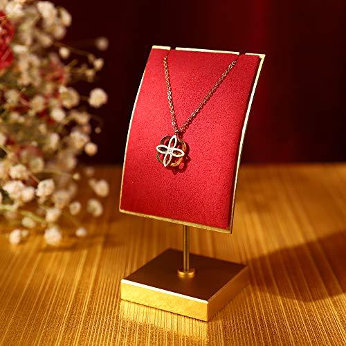 GemeShou Soporte de metal dorado para collar de terciopelo rojo, soporte para exhibición de collar largo para colgar collares al por menor, caballete de exhibición de joyería de metal rojo