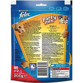 Felix Party Mix Original : Poulet, Foie, Dinde - 200 g - Friandises pour Chat - Lot de 5