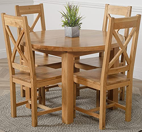 OAK FURNITURE KING Edmonton 110-140 cm Oak Extendable Round Dining Table and 4 Chairs Dining Set with Berkeley Oak Chairs