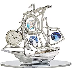 Matashi MTCL13025 Chrome Plated Silver Sailboat Tabletop Ornament with Clock Blue Crystals   Timepiece Home Décor, Keepsake or Work Decoration   Precision Analog Time Keeping