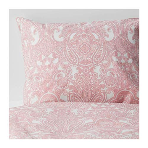 IKEA Jattevallmo Duvet Cover and Pillowcases White Pink Size: Full/Queen (Double/Queen) 804.136.62