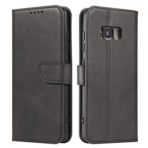 ANCASE Funda de Cuero Compatible con Samsung Galaxy S6 Negro con Tapa Libro PU Case Cover Completa Protectora Funda para Teléfono Piel Tarjetero Modelo