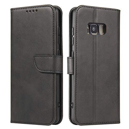 Ancase Custodia Portafoglio per Samsung Galaxy J3 2017 Nero Flip Cover in Pelle aLibro Wallet Case Porta Carte per Donna Ragazza Uomo