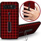 [ Compatible with Samsung Galaxy Note 8 ] Dual Armor Shockproof Finger Loop Strap Ring Holder Hard Case Cover with Kickstand (Red Lumberjack Gingham Buffalo Plaid)