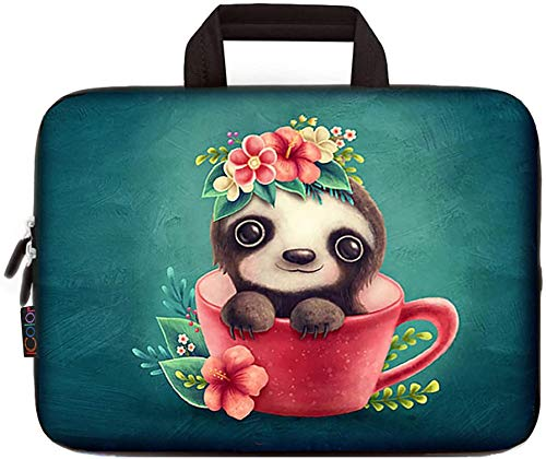 11.6 Inch Laptop Sleeve Carrying Bag Chromebook Cover Case, Netbook/Notebook/Ultrabook Protective Briefcase Pouch Tote with Handle Fits 12 12.2 Inch Dell HP Google Acer Lenovo Asus(Cute Tea Cup Bear)